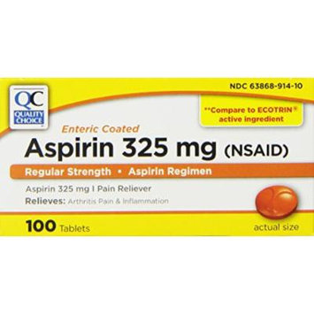 Quality Choice Regular Strength Enteric Coated Aspirin 325mg. Tablet 100 Count , Boxes (Pack of 6)