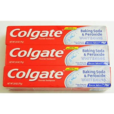 Colgate Toothpaste Whitening with Peroxide and Baking Soda Oxygen Bubbles Brisk Mint - 2.8 Oz (Pack of 3)