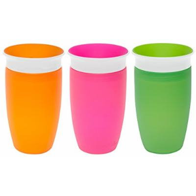 Munchkin Miracle 360 Degree 10 Ounce Spoutless Cup, 3 Pack, Orange/Pink/Green