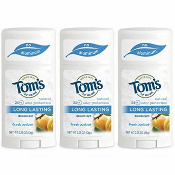 Tom's of Maine Natural Deodorant Stick, Apricot, 2.25 Oz (Pack of 3)