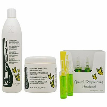 Kismera Line Growth Regenerating Shampoo & Cream 16oz & Treatment 12x15ml
