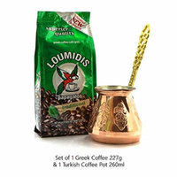 Loumidis Coffee 8oz with Handmade Copper Turkish Coffee Pot 260ml (Pack of 2)