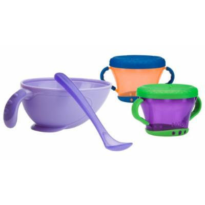 Nuby Non-Skid Comfort Grip Feeding Bowl with 2 Pack Snack Keeper, Purple