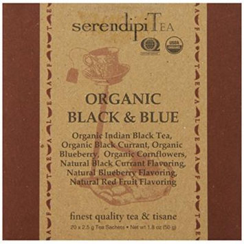 SerendipiTea Organic Tea Black and Blue, 20 Count (Pack of 8)