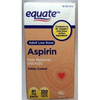 Adult Low Dose Aspirin, Safety Coated, 81mg, 120ct, By Equate, Compare to St. Joseph Low Dose