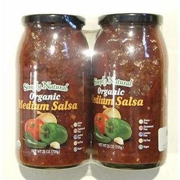 Simply Natural 2- 25 Oz Organic Medium Salsa, Gluten and Cholesterol Free, 50 Oz