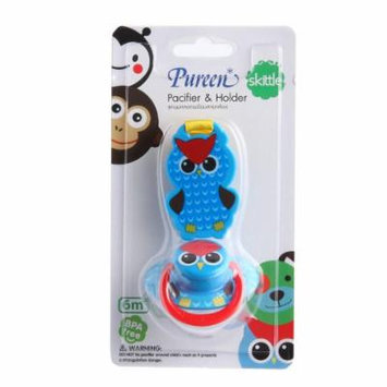 New Pureen Skittle Soother Baby Pacifier and Holder BPA Free for 6 Months+ (Owl)