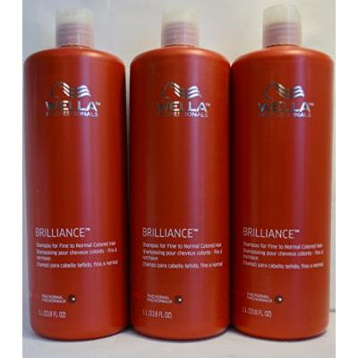 Wella Brilliance Shampoo for Fine to Normal Colored Hair 33.8oz (3 Pack)