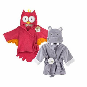 Baby Aspen Terry Cotton Hooded Baby Bath Robe, Twin Pack, Pink Owl/Hippo