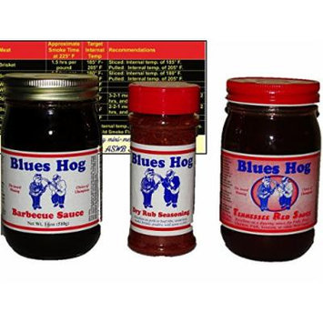 Blues Hog Barbeque BBQ Sauce and Dry Rub Sampler Bundle (Original Barbecue Sauce, Tennessee Red Sauce, and Dry Rub) with Complimentary Miniature Meat Smoking Guide Magnet
