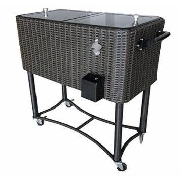 Permasteel PS-208-BB Patio Wicker Cooler, 80 quart, Black/Brown
