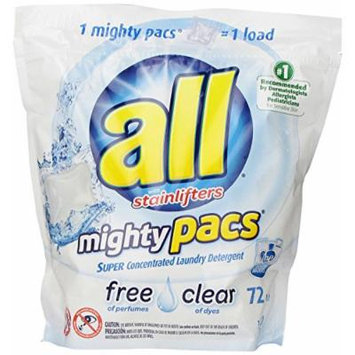 All Mighty Pacs Laundry Detergent, Free & Clear, New Super Size Package 216 Pacs