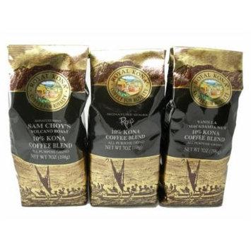 Royal Kona Coffee Triple Variety Pack (All Purpose Grind) - 21 oz