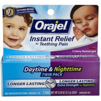 Orajel Oral Pain Reliever, for Teething, Daytime & Nighttime Gels, Cherry Flavored, 2 CT (PACK OF 2)
