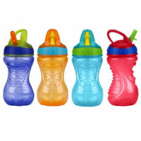Nuby 10 Ounce Flip-And-Tip Hard Straw Cup - 4 Pack (Purple/Orange/Blue/Red)