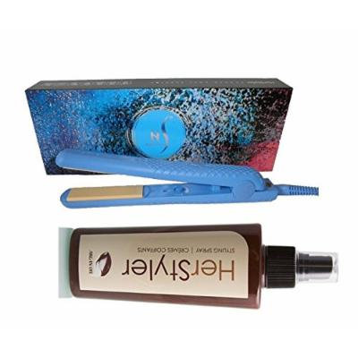 HerStyler Colorful Seasons 1.5 inch Ceramic Straightener with FREE Heat-Protective Cream (Blue)