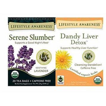 Lifestyle Awareness Teas, Caffeine Free Dandy Liver Detox Tea and Serene Slumber, 20 Count (Pack of 2)