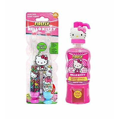 Firefly Hello Kitty Ready Set Go Light Up Toothbrush 2 Ct. Plus Bonus Firefly Hello Kitty Melon Kiss Flavor Anticavity Fluoride Rinse, 14 fl oz
