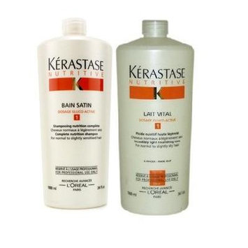 Kerastase Bain Satin Shampoo and Lait Vital Conditioner 34oz Duo