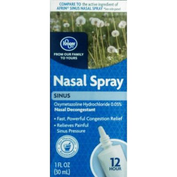 Kroger Nasal Spray Sinus, Oxymetazoline HCl 0.05%, 1 Fl Oz, Compare to active ingreditent of Afrin Sinus Nasal Spray