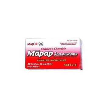 [3 PACK] Mapap Children's Acetaminophen 80mg Fruit Flavored Chewables 30 Ct. For Ages 2-6 *Compare to the same active ingredients in Children's Chewable Tylenol® & Save!!*