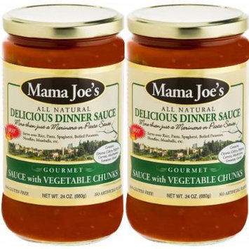 Mama Joe's Delicious Gourmet Sauce with Vegetable Chunks Spicy HOT All Natural Gluten Free No High Fructose Corn Syrup Low Sodium (180mg) 2 Pack -24oz Big Jars Pasta Spaghetti Rice Potatoes Meatballs