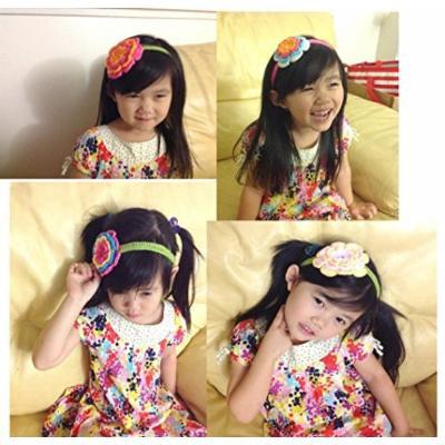Handmade Crocheted Baby Headband PLUS A FREE GIFT BABY HAIR CLIP (WHITE BLUE DARK PINK ORANGE)