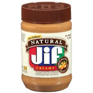Jif, Natural Low Sodium Creamy Peanut Butter Spread, 16oz Jar (Pack of 6)