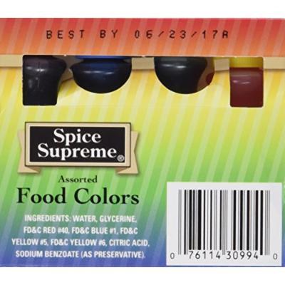 Easter Egg Coloring - Spice Supreme Assorted Food Colors - 4 Bottles Per Box - 2 Pack (8 Bottles)