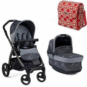 Peg Perego Book Pop Up Stroller, Portraits Grey w Petunia Pickle Bottom Boxy Backpack (Persimmon Spice)