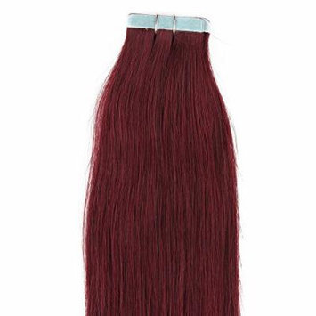 20 inches 100grs,40pcs, 100% Human Tape In Hair Extensions #99J Burgundy Red Wine