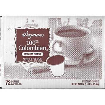 Wegmans Single Serve Coffee Capsules Case of 72 (100% Colombian)