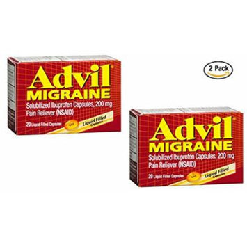 Advil® Migraine Liquid Filled Capsules 20ct 200mg Advanced Medicine For Pain (Pack of 2)