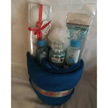 Graduation Gift Spa Basket Blue & White Soft Towel, Candle, Bath Bomb, Eye Mask, Lotion, Bath Gel, and Relaxation Gift Set Bundle for Her. - 7 pieces