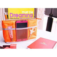 Smart Zipper Inner Bag Pouch-Cosmetics Case Makeup Bag Travel Accessory Organizer Orange