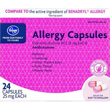 Kroger Allergy Capsules, Diphenhydramine HCl 25 mg, 24 ct, Compare to active ingredient of Benadryl Allergy