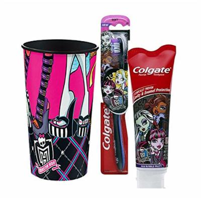MOnster High Ispired Bright Smile 3pc Oral Hygiene Set! (1) Monster High Soft Manual Toothbrush (1) Monster High Mild Bubble Fruit Toothpaste, 4.6 oz Plus Bonus Monster High Mouth Wash Rinse Cup! ...