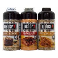 Weber All Natural Seasoning Blend 3 Flavor Variety Bundle: (1) Weber Steak 'N Chop Seasoning Blend, (1) Weber Beer Can Chicken Seasoning Blend, and (1) Weber Chicken 'N Rib Seasoning Blend, 5.5 - 6.0 Oz. Ea.