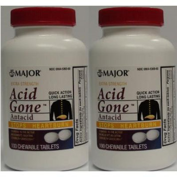 Acid Gone Antacid Chewable Generic for Gaviscon Extra Strength Chewable Tablets 100 Ct. Per Bottle Pack of 2 Bottles Total 200 Tablets