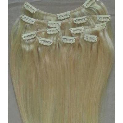 "18"" 100% REMY Human Hair Extensions 7Pcs Clip in #613 Platinum Blonde (NOT White Blonde, with a touch of gold)"