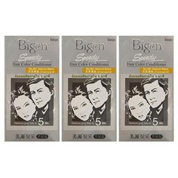 3 BOXES of BIGEN SPEEDY Natural Black No.881 Hair Color Conditioner. Darkens grey hair in 5 min