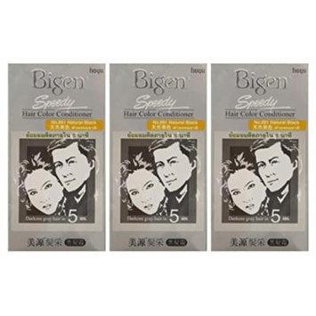 3 BOXES of BIGEN SPEEDY Natural Black No.881 Hair Color Conditioner. Darkens grey hair in 5 min