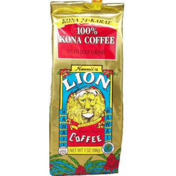 LION 24 Karat 100% Kona Coffee Ground 7 oz Bag (Pack of 3)