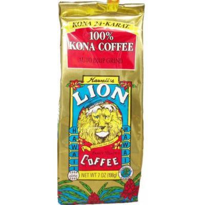 LION 24 Karat 100% Kona Coffee Ground 7 oz Bag (Pack of 3)