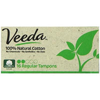 Veeda - Applicator Free Regular Tampons - Natural Cotton - 16 Count Boxes (Pack of 3)