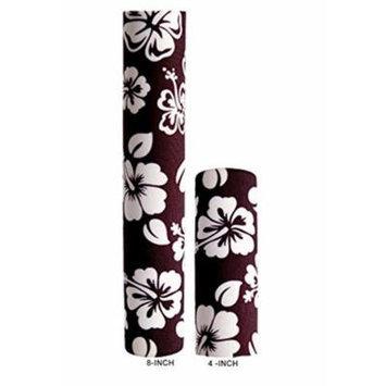 Hair Glove Neoprene Black w/White Hibiscus Flower Pony Tail Holder (8 Inch)