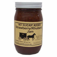 Amish Buggy No Sugar Added Jam, Strawberry Rhurbarb, 16 Ounce (Pack of 12)