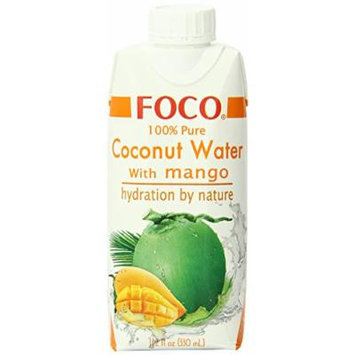 FOCO Pure Coconut Water, Mango, 11.2 Fluid Ounce (Pack of 12)