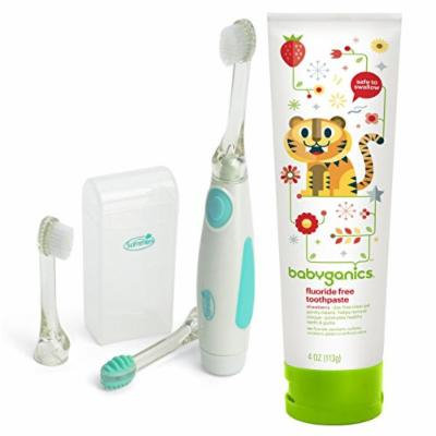 Summer Infant Gentle Vibrations Toothbrush with Fluoride Free Toothpaste, Strawberry, 4oz Tube