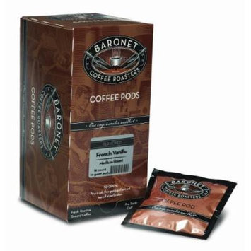 Baronet Coffee French Vanilla Medium Roast, 18-Count Coffee Pods (Pack of 3)